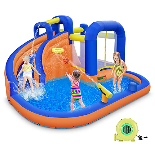 ONME Inflatable Bounce House, Durable Indoor Outdoor Water Slide, Bouncer with Pool Slide, Jump and...