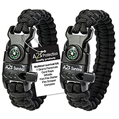 A2S Protection Paracord Bracelet K2-Peak – Survival Gear Kit with Embedded Compass, Fire Starter, Emergency Knife & Whistle (Black/Black 8 )
