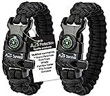 Paracord Bracelet K2-Peak – Survival Bracelets with Embedded Compass, Fire...