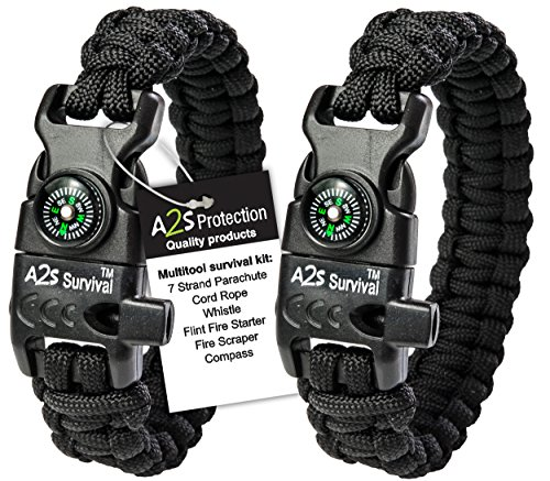 A2S Protection Paracord Bracelet K2-Peak – Survival Gear Kit with Embedded Compass, Fire Starter, Emergency Knife & Whistle (Black / Black 8')
