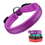 Dog Collar, Weatherproof Puppy Collars, Adjustable Reflective Neoprene Padded Basic Dog Collars (L, Purple)