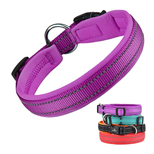 Dog Collar, Weatherproof Puppy Collars, Adjustable Reflective Neoprene Padded Basic Dog Collars