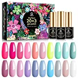 MEFA Gel Nail Polish Set 23 Pcs with Gift Box, Nail Gel Kit Pastel Cotton Candy Summer Colors with No Wipe Mirror & Matte Top and Base Coat, Hot Pink Sage Green Blue for Starter Soak Off Nail Art Salon Design Manicure