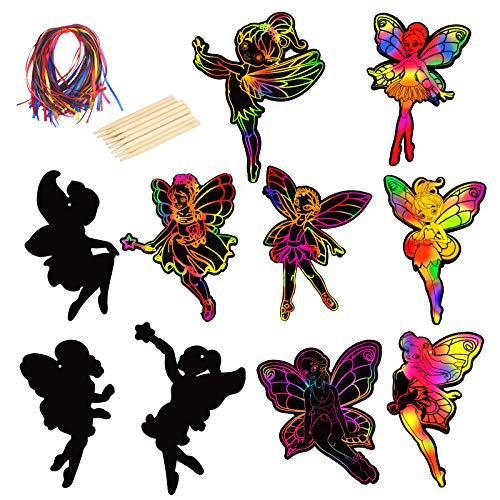 CHALA 40stk Fee Kratzbilder Set Kinder Kratzpapier Elfen und Feen Scratch Paper zum Zeichnen und Basteln Rubbelkarte Mitgebsel Party Deko für DIY Geschenk Jungen mädchen