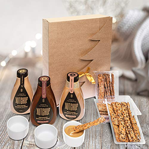 NUTCHUP Perfect as a Gift Set for Peanut Butter Lovers | Squeezy no Added Sugar Peanut Butter Gift Box with Ceramic Bowl and Grissini Snacks - Limited Edition (Family)