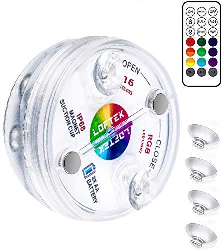 Wuudi Magnet Tauch LED Leuchten mit Saugnäpfen, Fernbedienung (RF), IP68 Voll wasserdichte Badewannenleuchten 13 LED Farbwechselbatterie LED Leuchten Unterwasser für Badewanne
