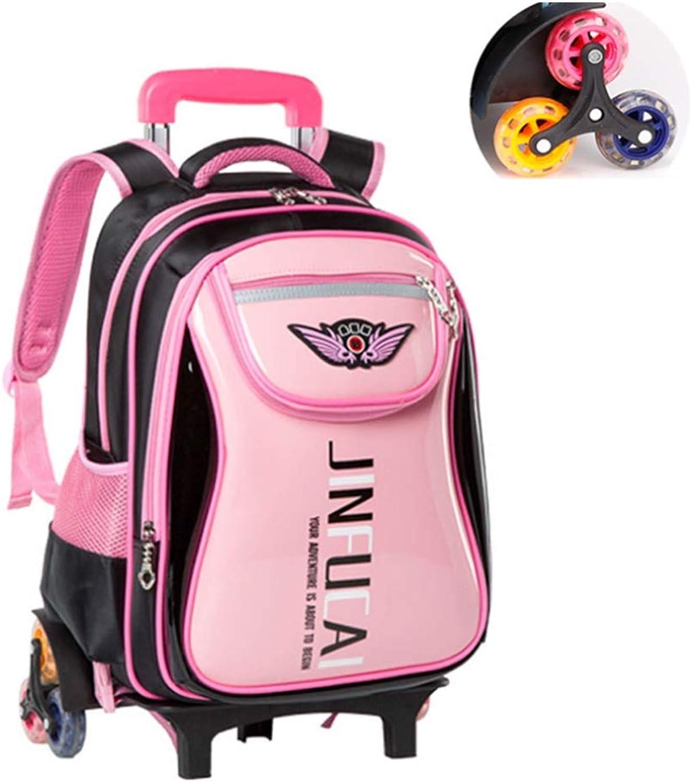 BYGenMai Schultrolley Schulranzen Kinderwagen Rollrucksack Hochleistungs-Schultasche für Schüler, die Treppen steigen (6-12 Jahre),C