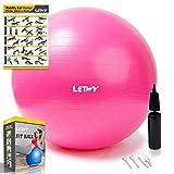 LETWY Palla Fitness | 65cm Fucsia | Nuova Versione 2020 con Poster Esercizi-Ginnastica, Fitball Fit Balls, Gymball Pilates, Yoga, Attrezzi Palestra Casa
