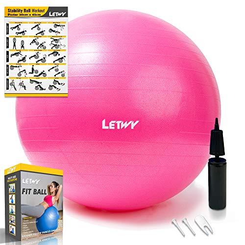 LETWY Palla Fitness   75 cm, Fucsia   Nuova Versione 2020 con Poster Esercizi-Ginnastica, Fitball Fit Balls, Gymball Pilates, Yoga, Attrezzi Palestra Casa