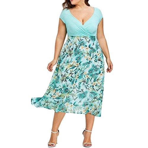 VJGOAL Damen Kleid, Frauen Plus Size Mode V-Ausschnitt Floral Maxi Abend Cocktail Party Hochzeit Boho Strand Frühling Sommerkleid (2XL / 46, W-blätter-grün)