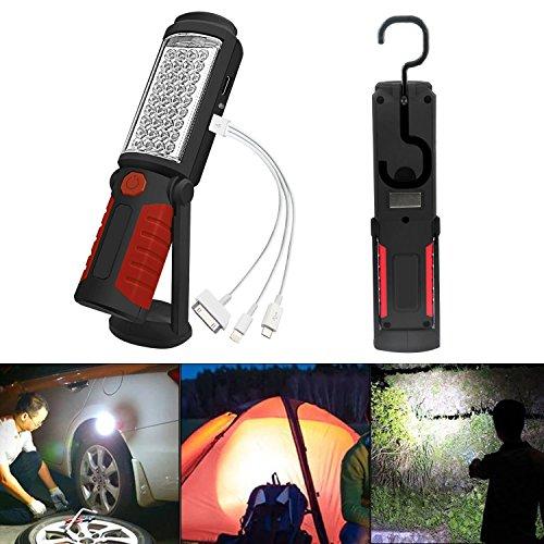 SunTop LED Lámpara de Inspección Recargable Linterna de Trabajo, Portátil Lampara de Inspeccion COB LED Luz con Magnético Soporte y Gancho Colgante para Automóviles, Taller, Emergencia, Camping