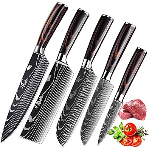 MDHAND küchenmesser Profi Messer Set, Scharfe Kochmesser aus Edelstahl in Mehreren Größen mit Bequemen Griff, Verschiedene Größen,Japanische Messer Set, Rostschutz-kochmesser