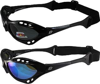 2 Pair Birdz Seahawk Polarized Sunglasses Floating Jet Ski Goggles Sport Kite-Boarding, Surfing, Kayaking,1 Black with Blu...