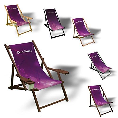 Printalio - Wunschtext - Purple Bubbles - Liegestuhl Bedruckt Balkon Garten Sonnenliege Relax Holz Terrasse | mit Armlehne, Dunkelbraun