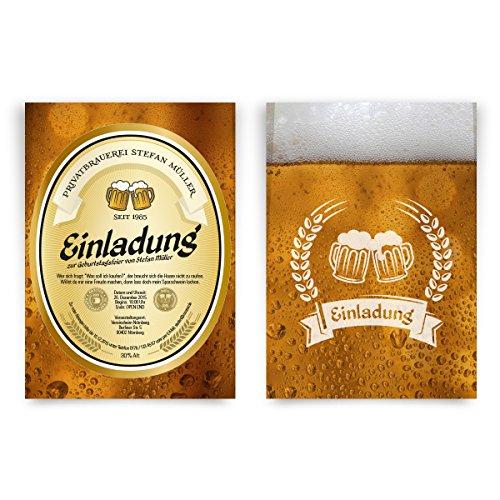 Einladungskarten zum Geburtstag (30 Stück) als Bieretikett Bier Einladung Bierglas Brauerei