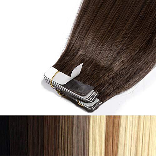 60cm Tape in Extensions Echthaar Remy Human Hair Haarverdichtung Haarverlängerung glatt 50g 20 stück X 4cm #4 mittel braun