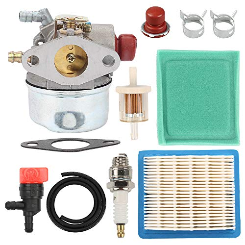 Venseri 640004 640117B 640014 640025 Carburetor with Primer Bulb Air Filter Tune Up Kit for Tecumseh OHH45 OHH50 OHH55 OHH60 OHH65 Engine Lawn Mower 640014 640025