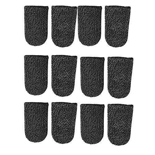 Funda de dedo de fibra de plata Funda para dedo transpirable Juego de fundas para dedos Adecuado para juegos de teléfonos inteligentes, mango antideslizante transpirable y antideslizante 12 piezas