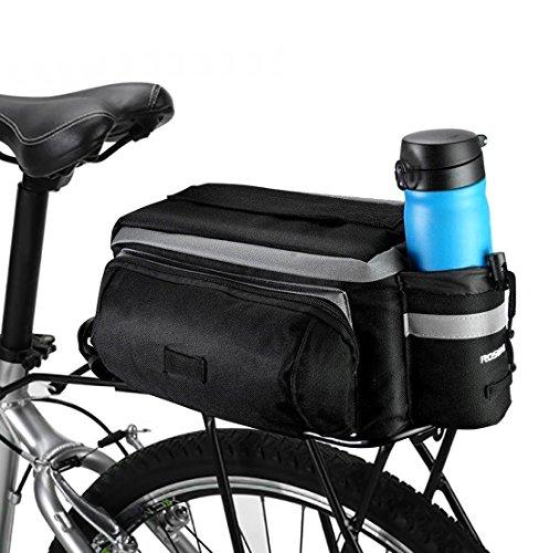 Betuy Fahrrad Satteltaschen mit Flaschenhalter, 7L wasserdichte Rücksitztasche mit Reflexstreifen, Mountain Road MTB Fahrradrahmen Tasche/Fahrradtaschen/Fahrradzubehör Umhängetasche (Schwarz)