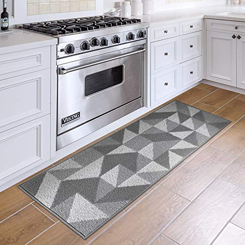 """DEXI Kitchen Rug Mat Non-Slip Absorbent Runner Rug for Kitchen Floor, Entryway, Hallway and Dining Room, Machine Washable Carpet 20""""x47"""", Grey"""