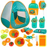 ToyVelt Kids Camping Tent Set -Includes Tent, Telescope, 2 Walkie Talkies, and Full Camping Gear Set...