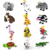 Jellydog Toy Mini Building Blocks Animals, 12 in 1 Stem Toys Building Sets,Party Favors for Kids, Assorted Mini Animals Building Blocks Sets for Goodie Bags, Prize,Cake Topper