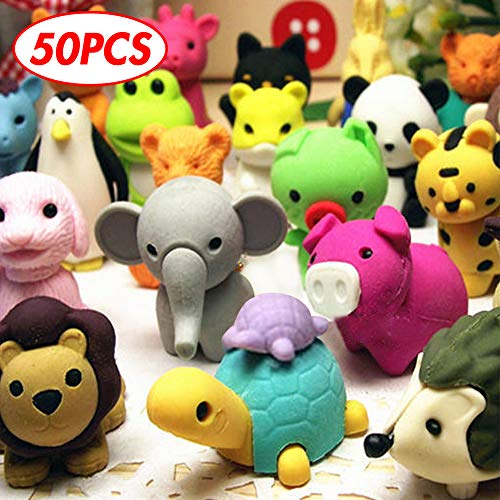3 otters Pack of 50 Animal Pencil Erasers for Kids Classroom Prizes, Removable Assembly Zoo Animal Erasers for Easter Egg Fillers, Easter Basket Stuffers, School Supplies and Party Favors