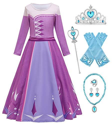 O.AMBW Disfraz de Princesa prpura Vestido Rosa Princesas Anna Elsa Rapunzel Sofia Cosplay Carnaval Cena de Halloween Navidad para nios Disfraz de nias con Accesorios