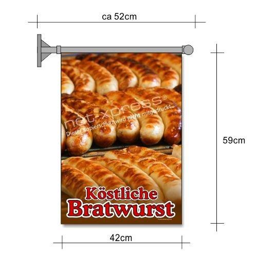 net-xpress Bratwurst-Fahne für Bratwurst-Reklame A2 Flagge Wurst Pommes Werbung Imbiss