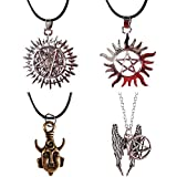 Fineder 4 Pack Supernatural Necklace Dean Winchester Mask Pendant Necklace, Supernatural Merchandise Jewelry Gifts …