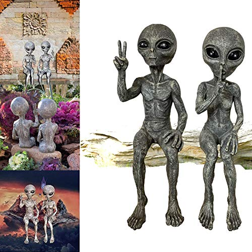 Outer Space Alien Dude Babe Shelf Sitters Statue Figurine Outer Space Alien Grays Peace Dude Couple Martians Garden Figurine Set (Alien female and alien male)