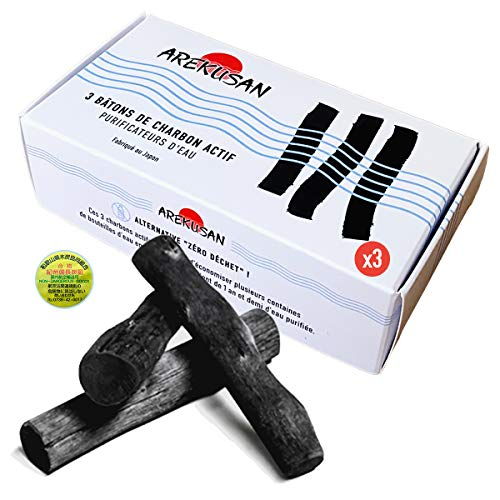 X3 Kishu Binchotan - Filtro vegetal natural japonés para agua y grifo, ideal como regalo ecológico para desechos y purificadores orgánicos de cocina o acuario, botella de plástico