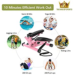leikefitness Premium Portable Twist Stair Stepper Adjustable Resistance, Twisting Step Fitness Machine with Bands and LCD Monitor ST6610-1(Pink)