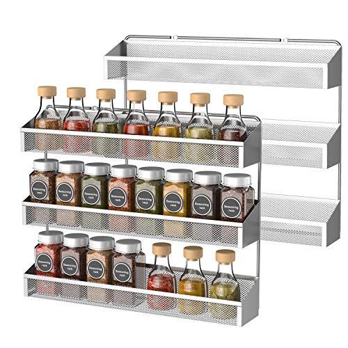 Bextsrack 3-Tier Spice Rack Organizer, 2 Pack Counter-top or Wall Mount Spice Rack Shelf Jars Storage Organizer for Kitchen Cabinet Pantry Door, Silver