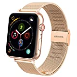TFHEEY Correa para Apple Watch 38mm 40mm 42mm 44mm, Pulsera de Repuesto de Acero Inoxidable Hebilla Metal Banda Correas para Apple Watch iWatch Series SE/6/5/4/3/2/1, 5.5'-8.1' (Oro Rosa, 38mm/40mm)