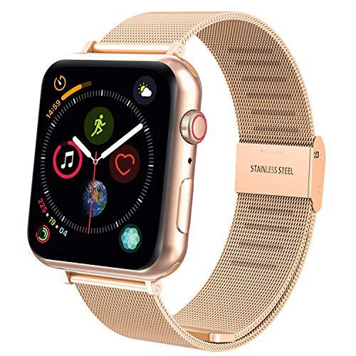 TFHEEY Correa para Apple Watch 38mm 40mm 42mm 44mm, Pulsera de Repuesto de Acero Inoxidable Hebilla Metal Banda Correas para Apple Watch iWatch Series SE/6/5/4/3/2/1, 5.5'-8.1' (Oro Rosa, 42mm/44mm)