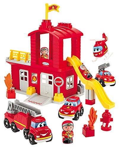 Jouets Ecoiffier -3026 - Grande caserne de pompiers Abrick – Jeu de construction pour enfants – Dès 18 mois – Fabriqué en France
