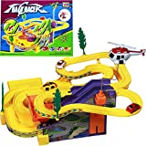 UJIE® Track Racer Racing Car Set with 4 Miniature Cars Rotating Helicopter