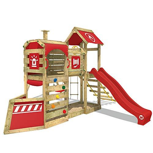 WICKEY Parque infantil de madera SteamFlyer con columpio y tobogán rojo, Casa de juegos de jardín...