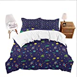 California King Cute Bedding 3 Piece Set (1 Duvet Cover+2 Pillowcases) Space,Doodle Style Cartoon Rocket Astronaut and UFO Alien Life Forms Earth Heavenly Bodies,Multicolor