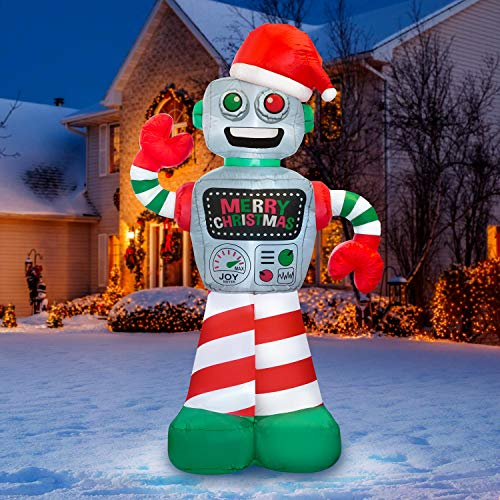 Holidayana 6 ft Christmas Inflatable Robot Yard Decoration - 6 ft Tall Airblown Lawn Decoration, Bright Internal Lights, Built-in Fan, and Included Stakes and Ropes