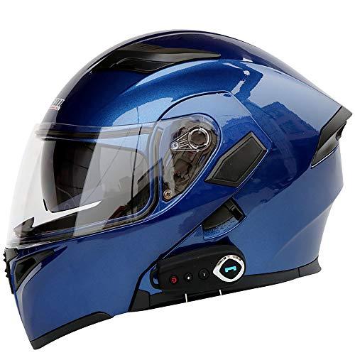 GNB Modulare Motorradhelme Bluetooth + FM DOT-Zertifizierung Flip Up Touring-Helme Integrierter Bluetooth-Kopfhörer mit Zwei Lautsprechern für automatisches Beantworten,Blue,L