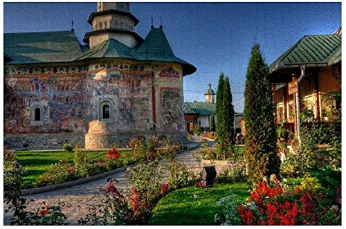 KKASD Puzzle Adult 1000 Piezas Monasterio religioso Bucovina Rumania Flower Bush Building 1000 Comprimidos para Adultos Juegos Familiares para niños y Adultos (75x50cm)