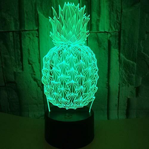 Night Light for Kids Pineapple 3D Light Lamp 7 Colour Light for Living Bedroom Decoration Birthday Gifts.