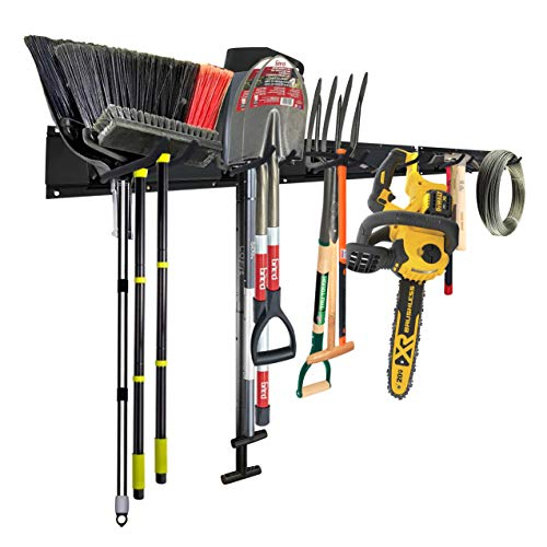 Garage Tool Storage Organizers Wall Mounted with 6 Removable Hooks and 3 Board, Super Heavy Duty Powder Coated Steel Garden Tool Hanger Rack for Bike, Chair, Broom, Mop, Rake Shovel & Tools