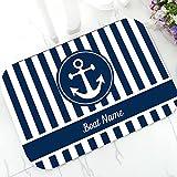 N/A Elegante Barca di Ancoraggio Nautico Strisce Blu Navy zerbino Personalizzato Moderno Personalizzato la Tua Barca Nome Porta zerbino Tappeto Arredamento Tappeto 16'x24'