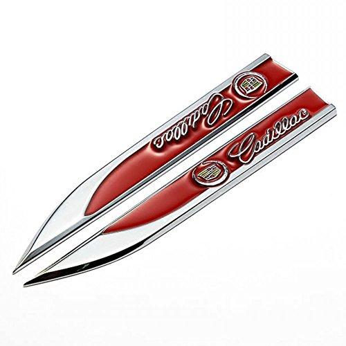 Wallner 1 paar metalen 3D omgebouwde auto auto ontwerpen embleem badge sticker auto deur spatbord zijkant sticker voor Cadillac rood