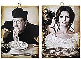 KUSTOM ART 2 cuadros de estilo vintage con los famosos Fernandel y Sofia Loren. Impresión sobre madera para decoración de restaurante pizzería bar hotel
