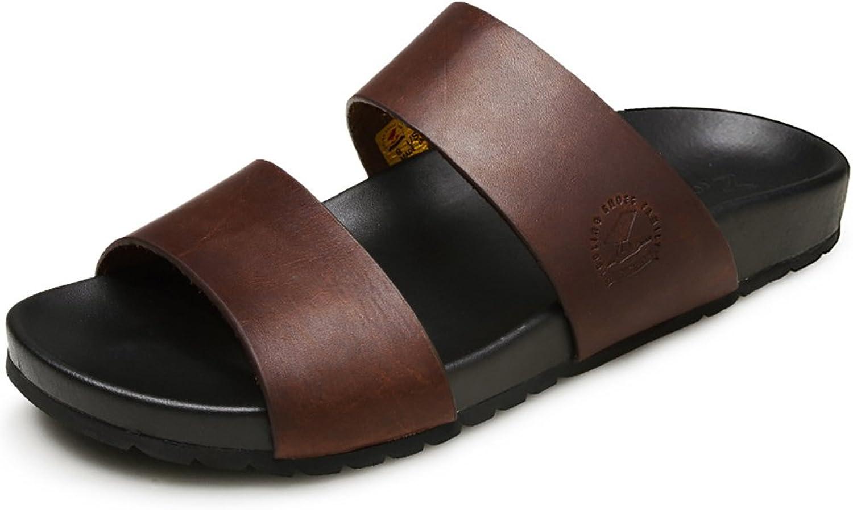ZJM- Roman Pantoffel Sandale Mann Strand Schuhe Open-Toe Designed Soft Echtes Leder Rutschfeste Bequeme Vintage (Farbe   Braun, gre   44)