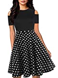 oxiuly Women's Chic Cold Off Shoulder Vintage Polka Dot Party Cocktail Casual Swing Dress with Pockets OX266 (S, BK-Dot) (Apparel)